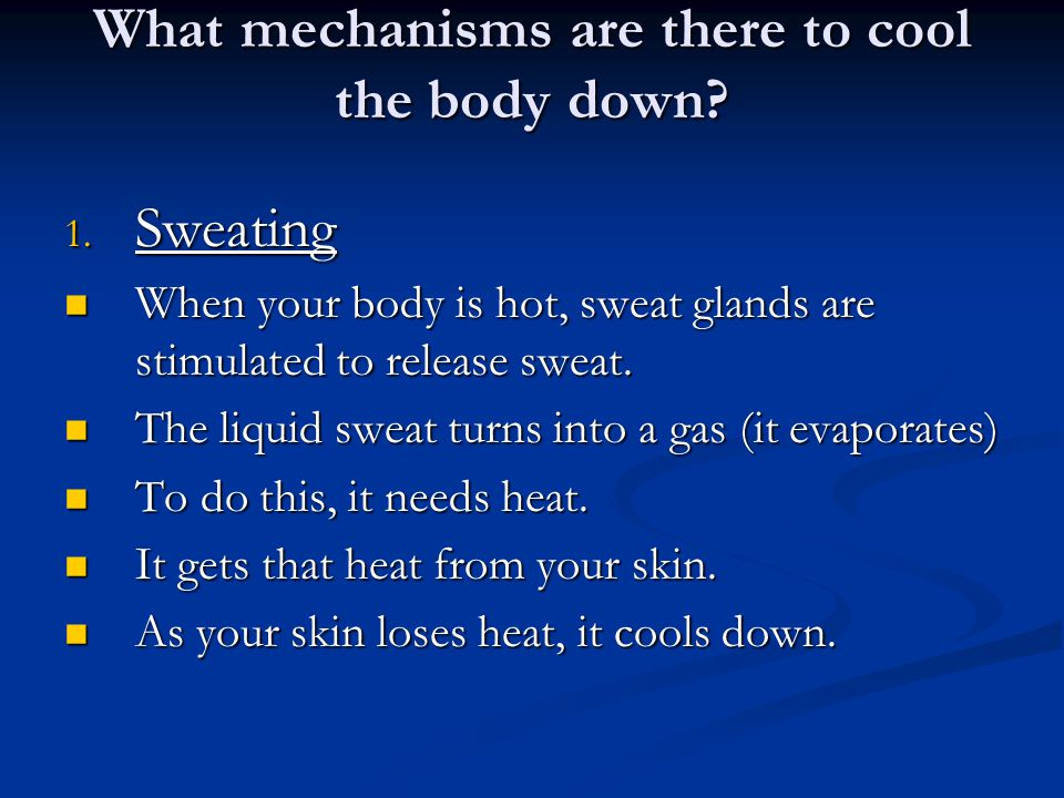 What mechanisms are there to cool the body down