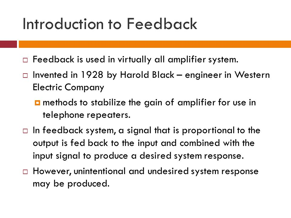 Introduction to Feedback