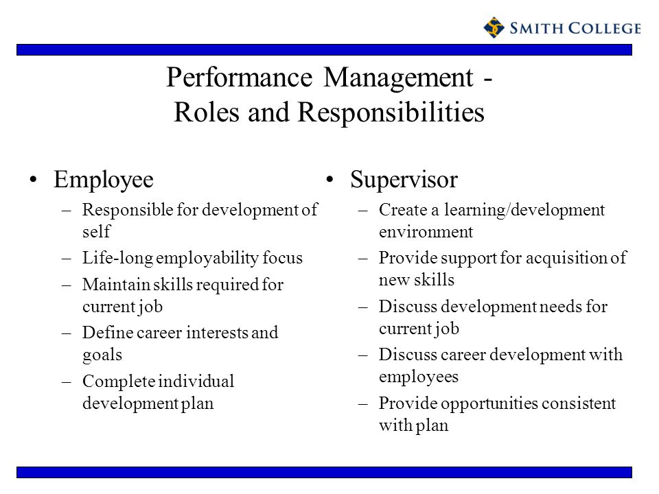 Performance Management - Roles and Responsibilities