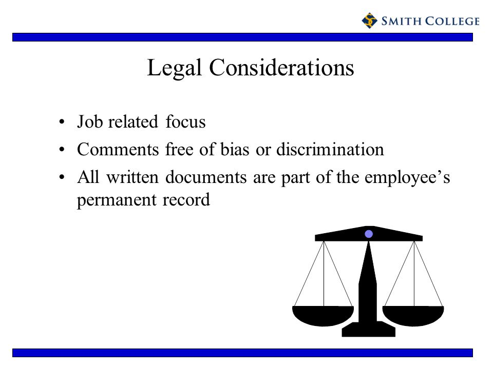 Legal Considerations Job related focus