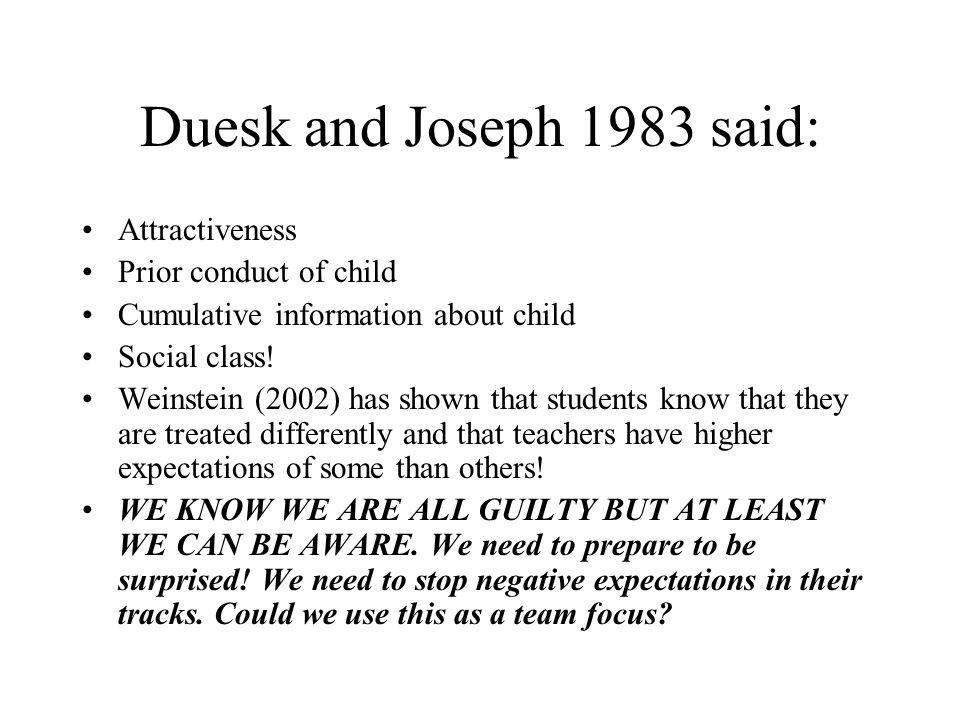 Duesk and Joseph 1983 said: Attractiveness Prior conduct of child