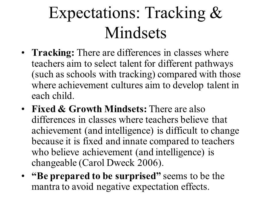 Expectations: Tracking & Mindsets