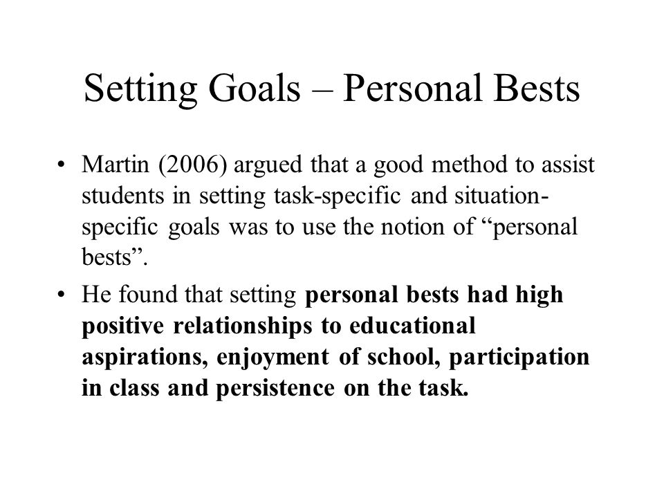 Setting Goals – Personal Bests