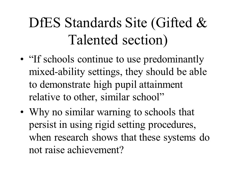 DfES Standards Site (Gifted & Talented section)