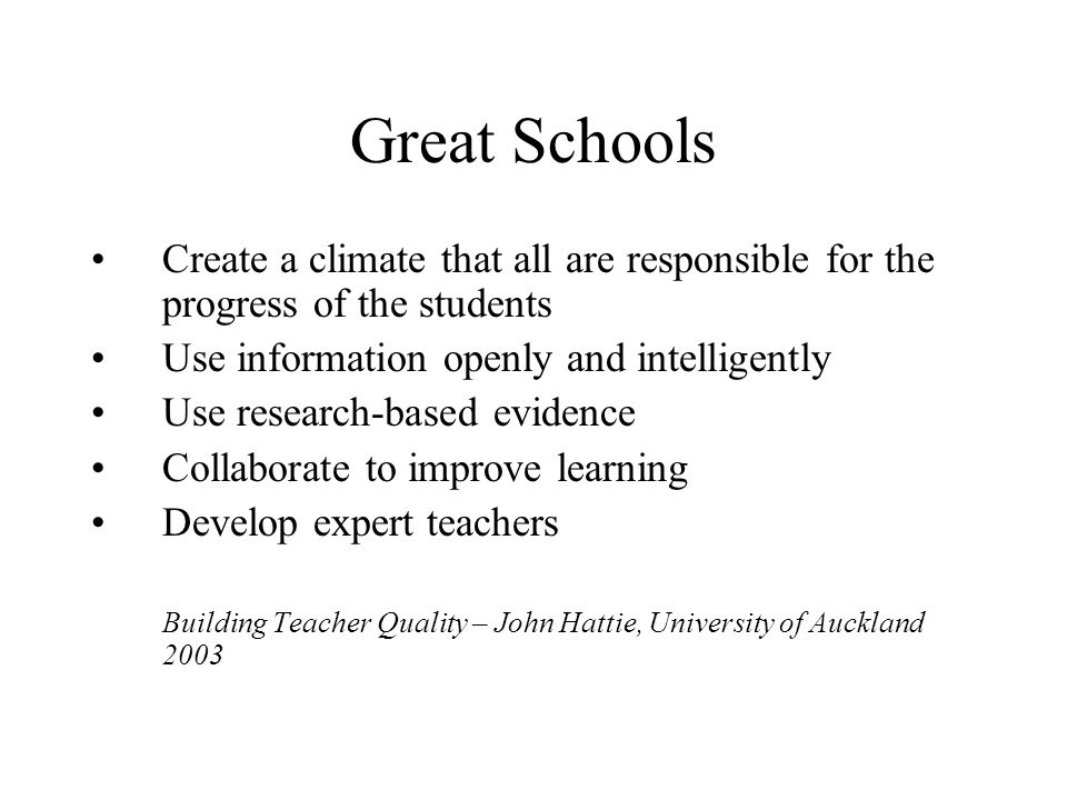 Great Schools Create a climate that all are responsible for the progress of the students. Use information openly and intelligently.
