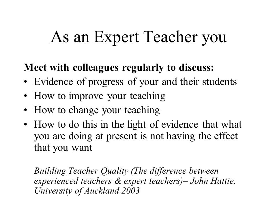 As an Expert Teacher you