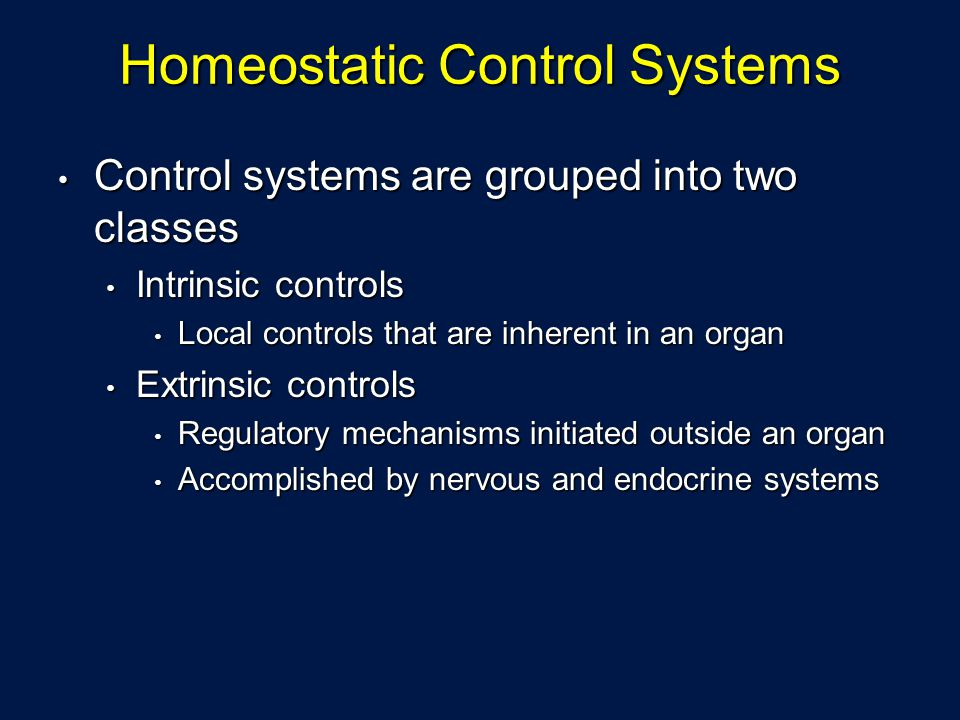 Homeostatic Control Systems