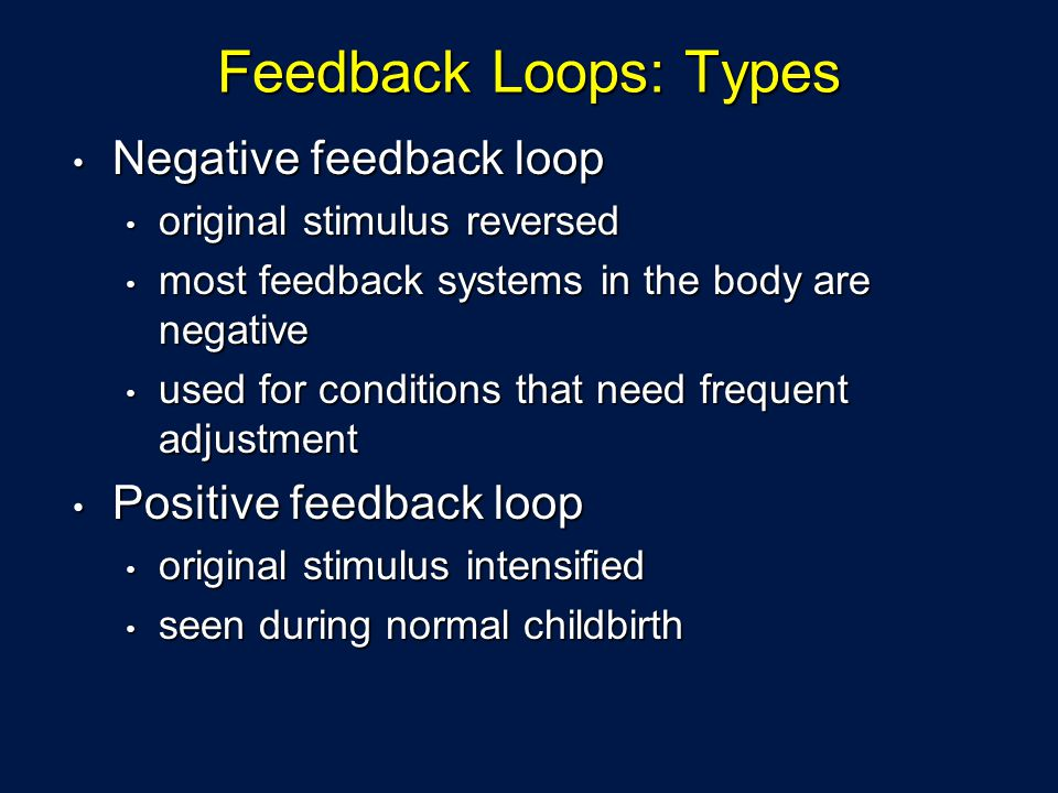Feedback Loops: Types Negative feedback loop Positive feedback loop
