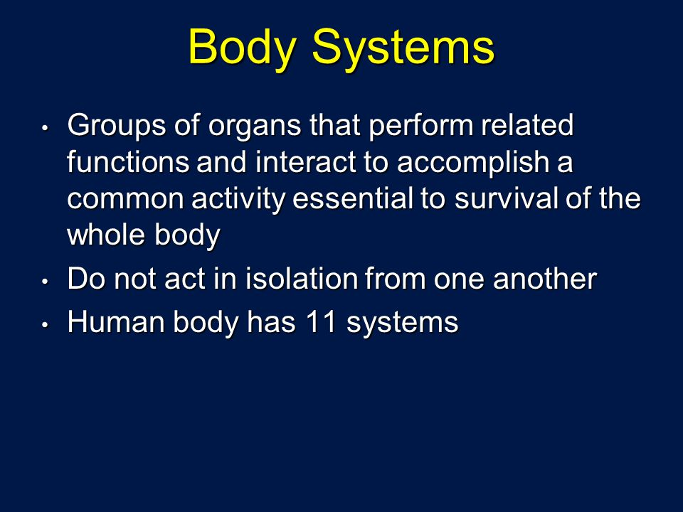 Body Systems Groups of organs that perform related functions and interact to accomplish a common activity essential to survival of the whole body.
