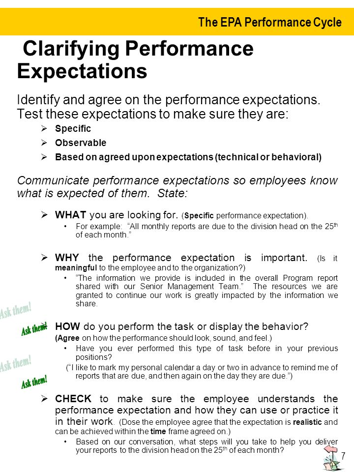 Clarifying Performance Expectations