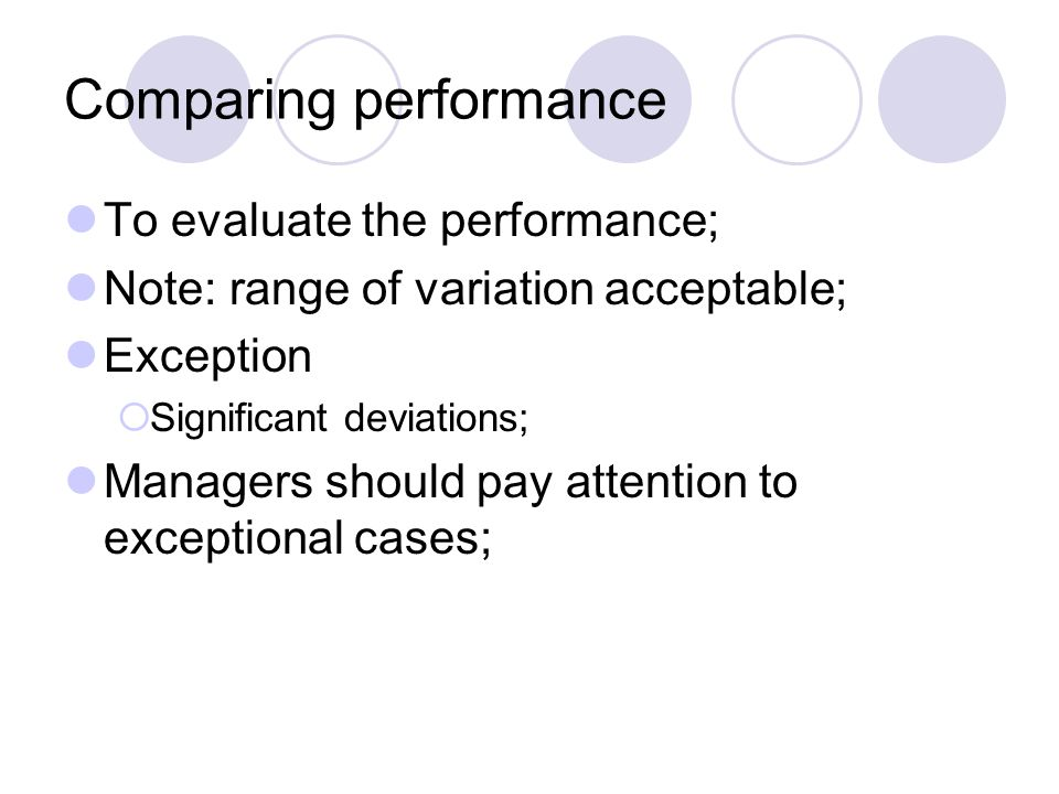 Comparing performance