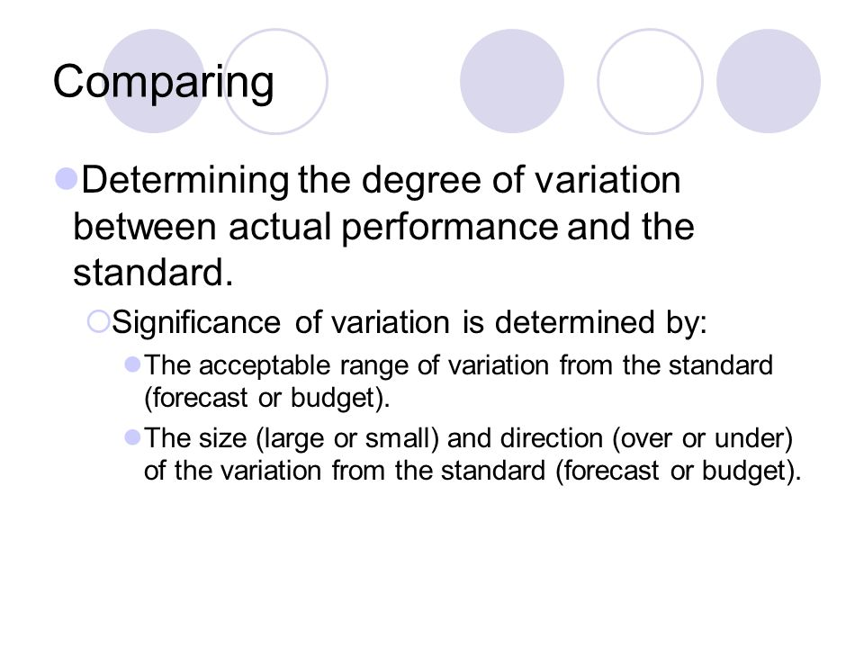 Comparing Determining the degree of variation between actual performance and the standard. Significance of variation is determined by: