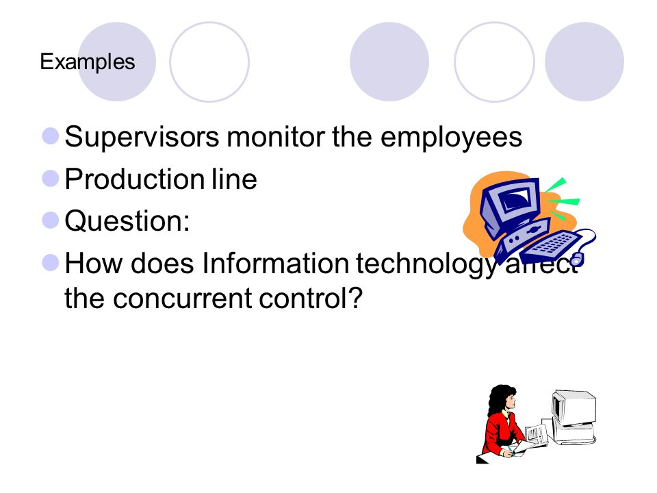 Supervisors monitor the employees Production line Question:
