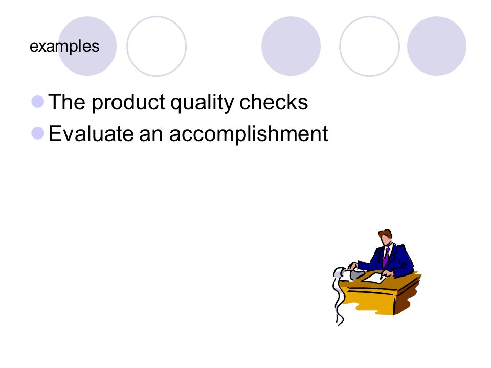 The product quality checks Evaluate an accomplishment
