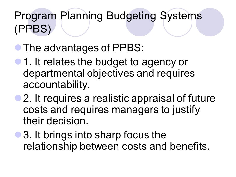 Program Planning Budgeting Systems (PPBS)