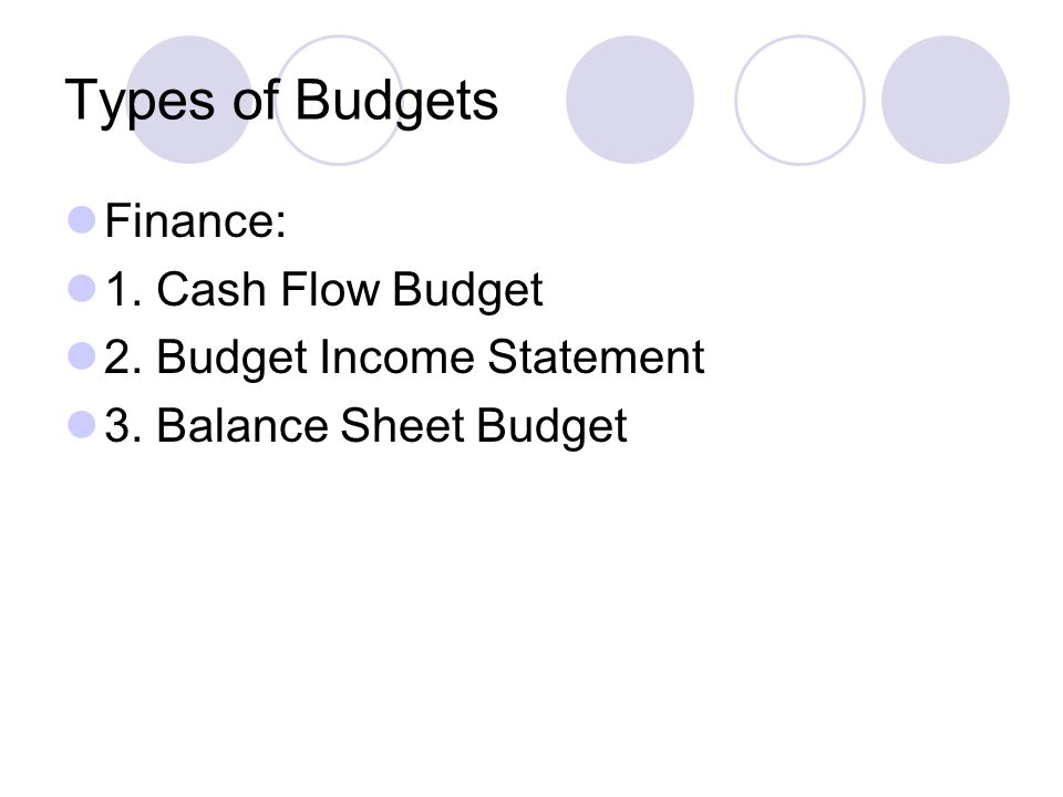 Types of Budgets Finance: 1. Cash Flow Budget