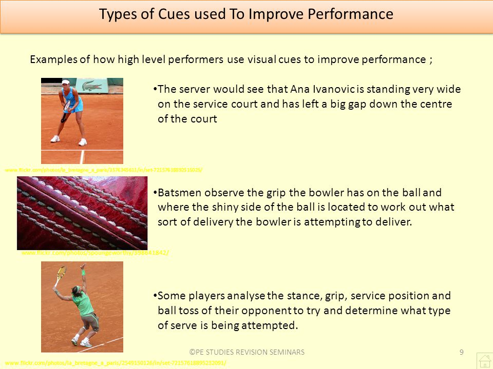 Types of Cues used To Improve Performance