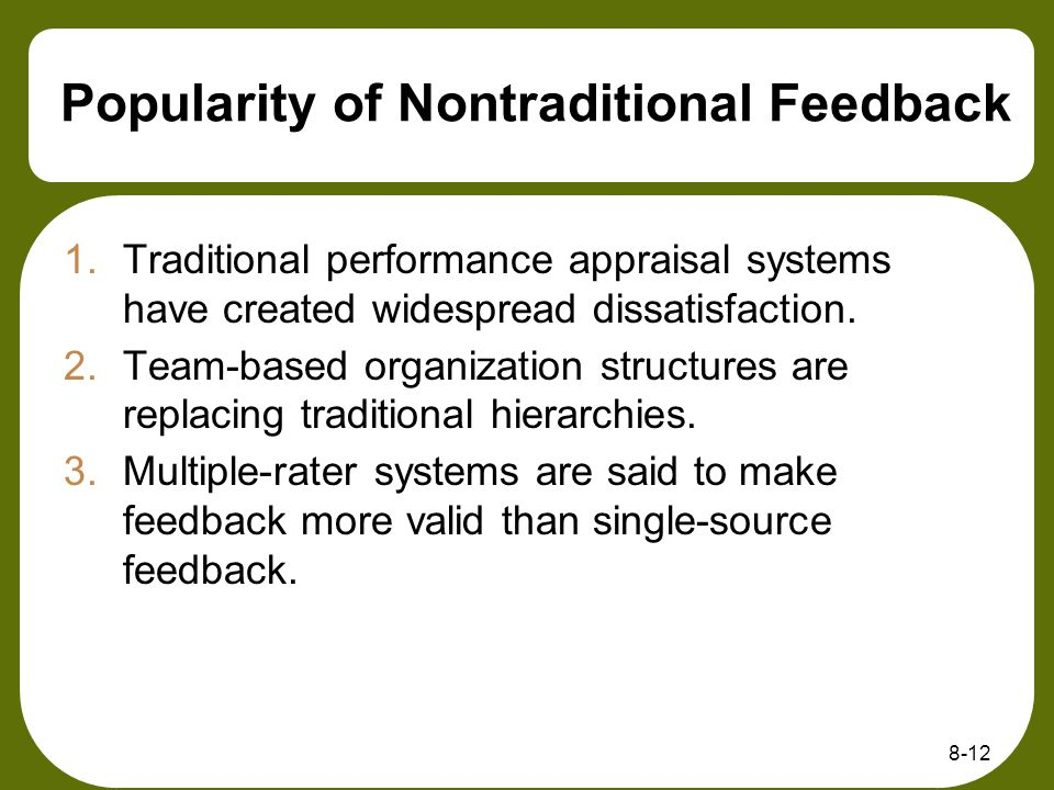 Popularity of Nontraditional Feedback