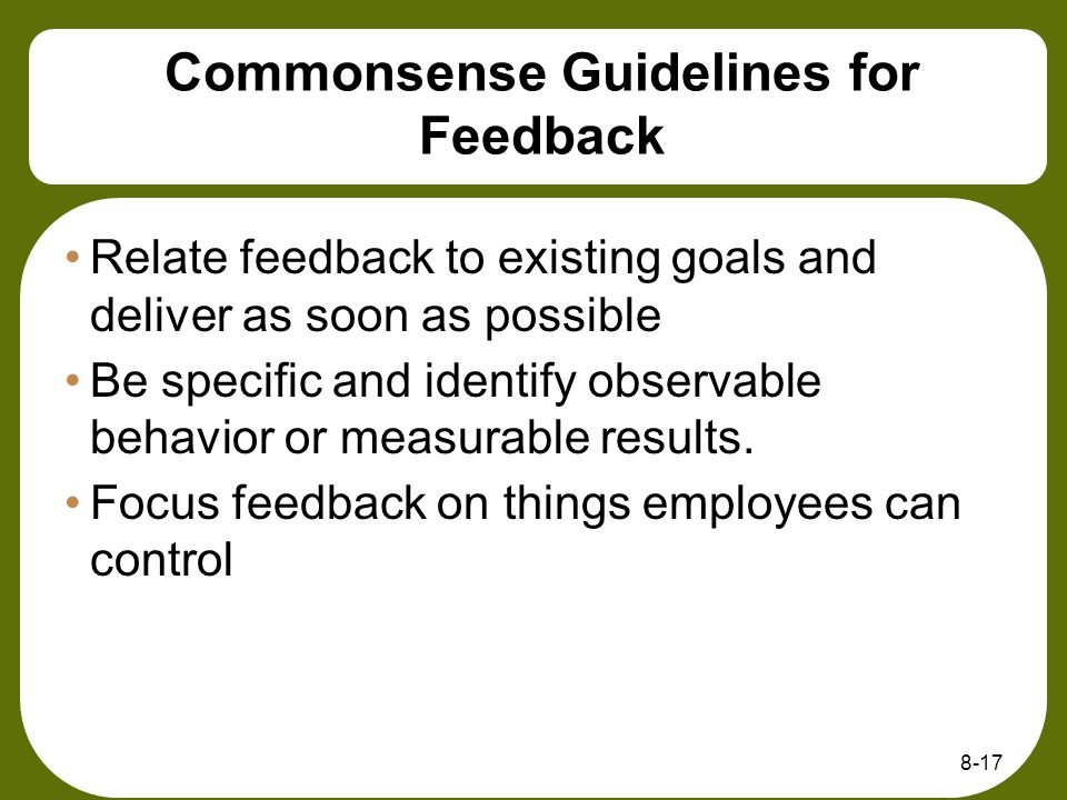 Commonsense Guidelines for Feedback