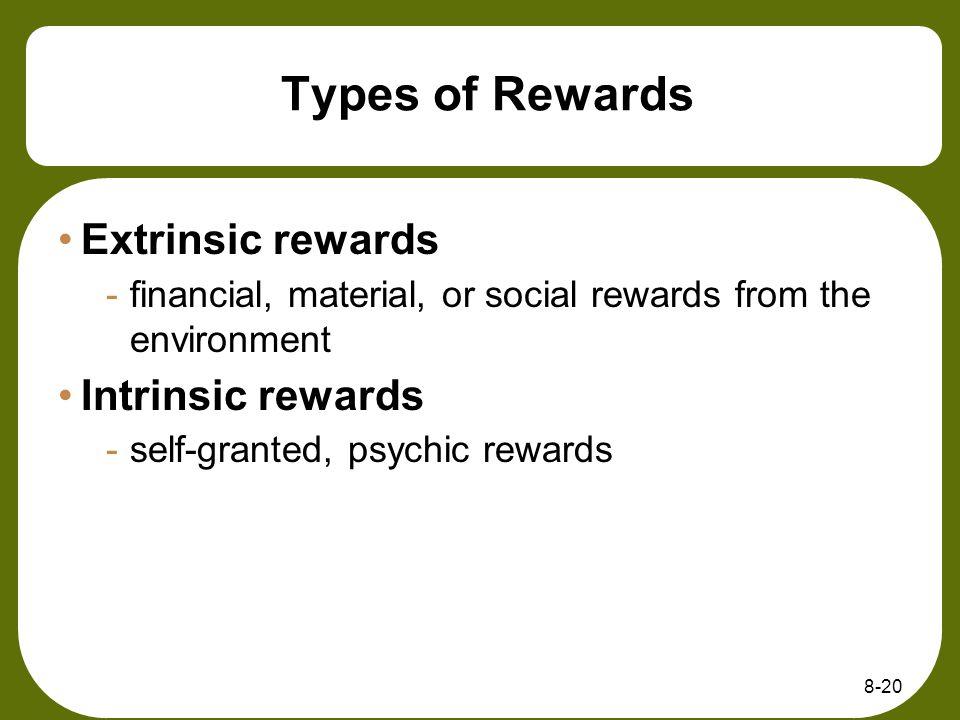 Types of Rewards Extrinsic rewards Intrinsic rewards