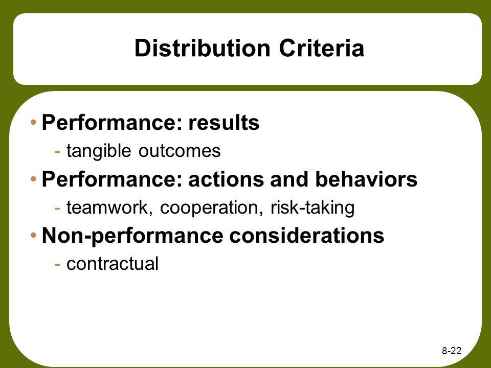 Distribution Criteria