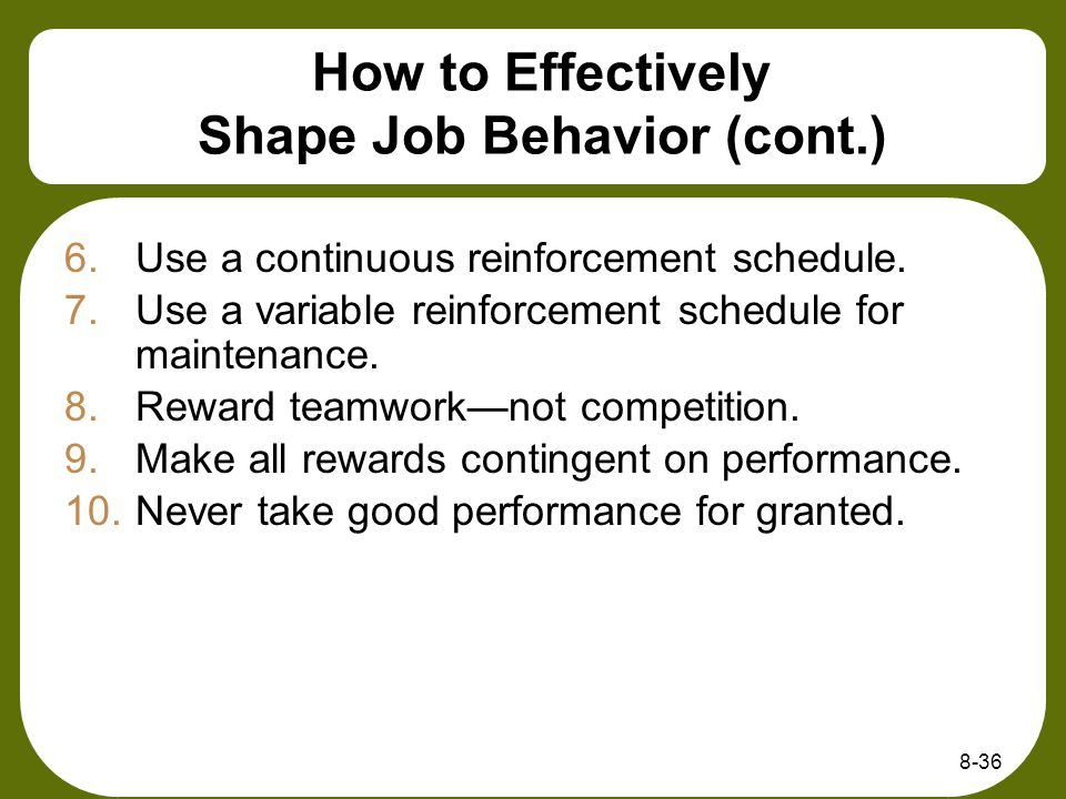 How to Effectively Shape Job Behavior (cont.)
