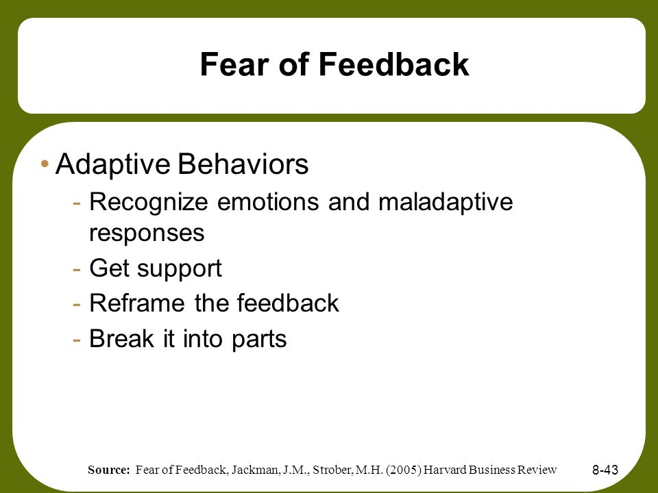 Fear of Feedback Adaptive Behaviors
