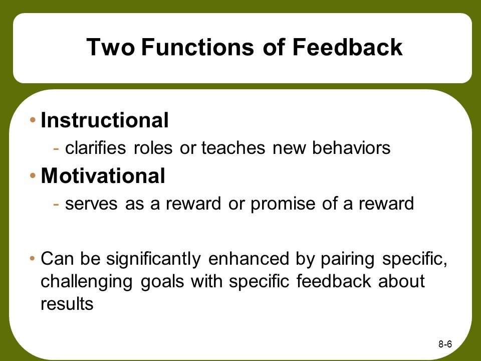 Two Functions of Feedback