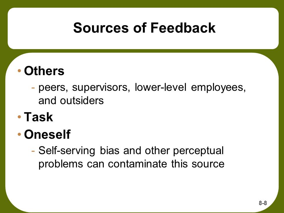 Sources of Feedback Others Task Oneself