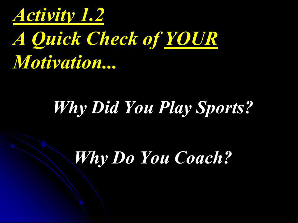 Activity 1.2 A Quick Check of YOUR Motivation...
