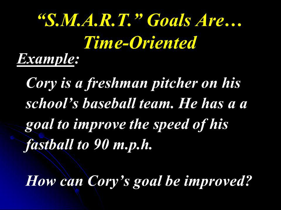 S.M.A.R.T. Goals Are… Time-Oriented