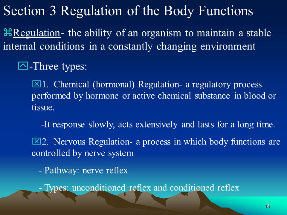 Section 3 Regulation of the Body Functions