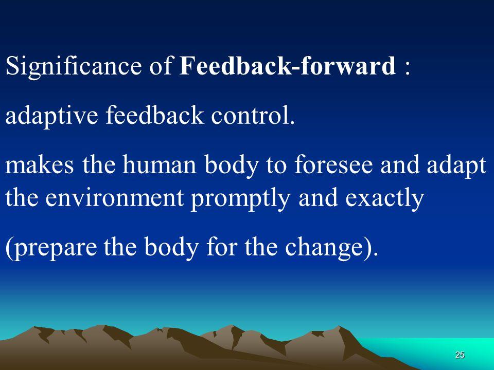 Significance of Feedback-forward :