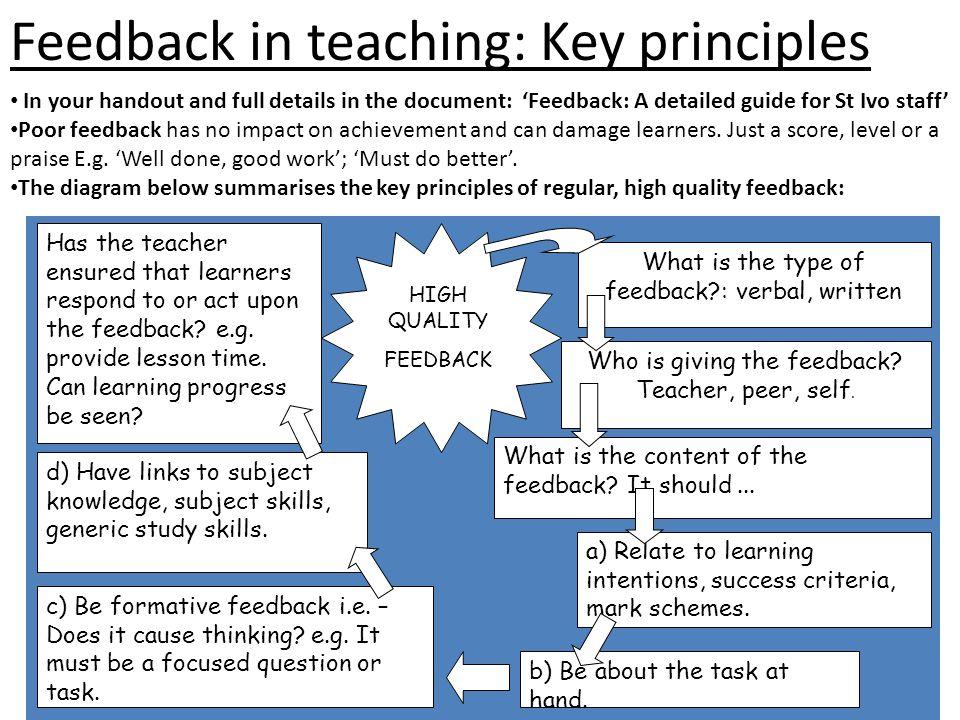 Feedback in teaching: Key principles