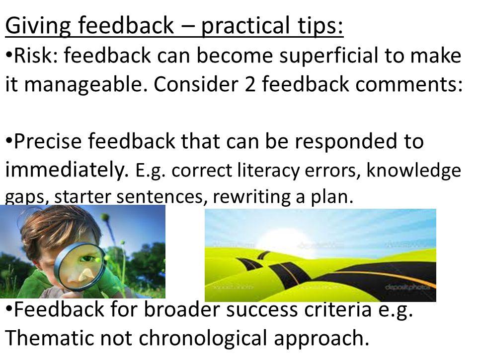 Giving feedback – practical tips: