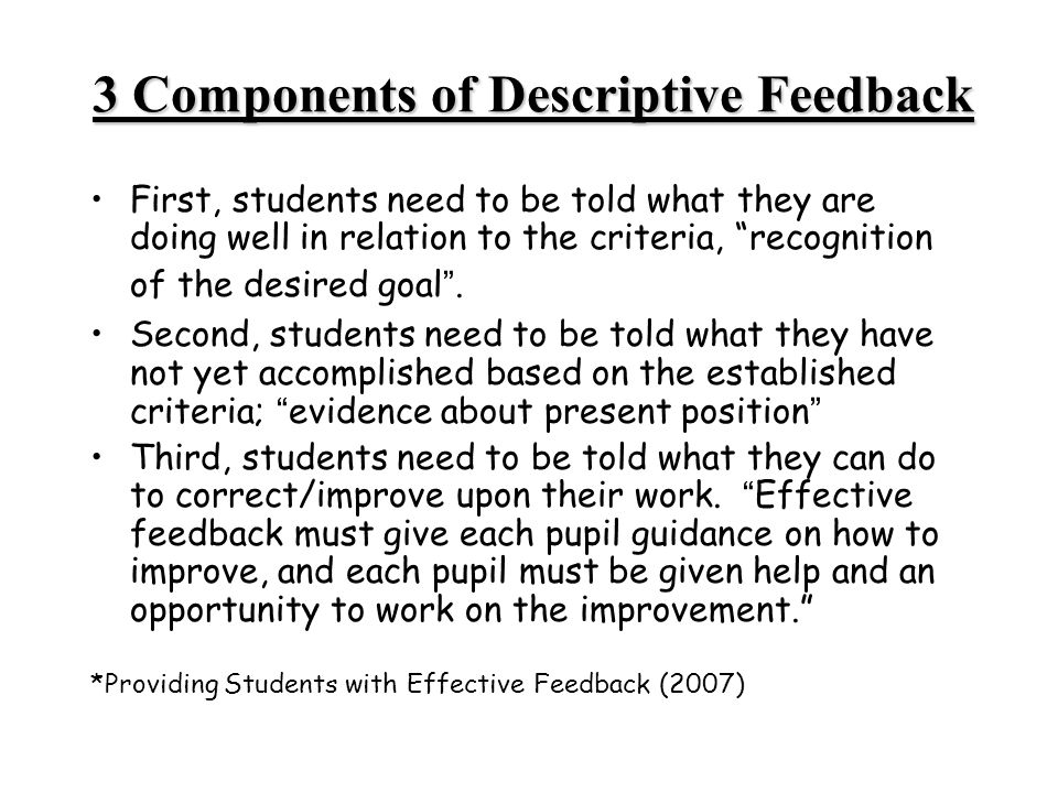 3 Components of Descriptive Feedback