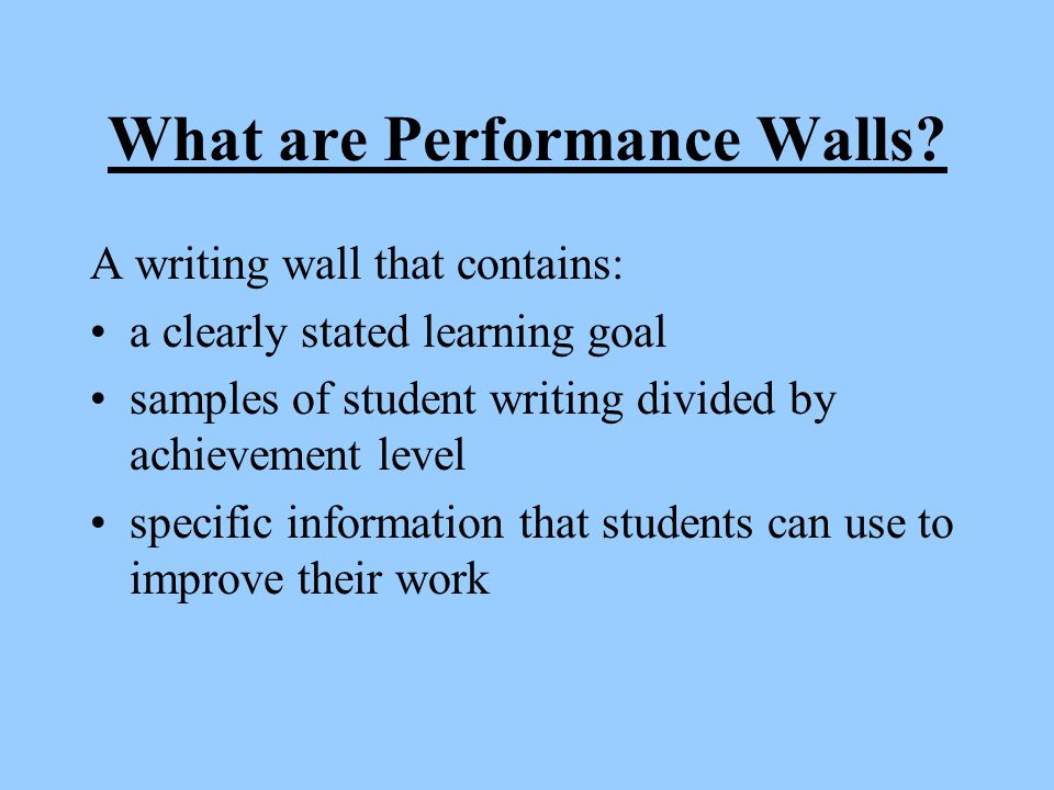 What are Performance Walls