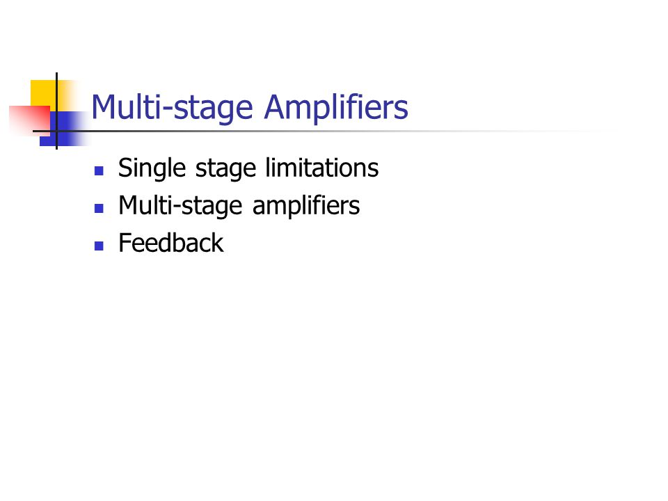 Multi-stage Amplifiers