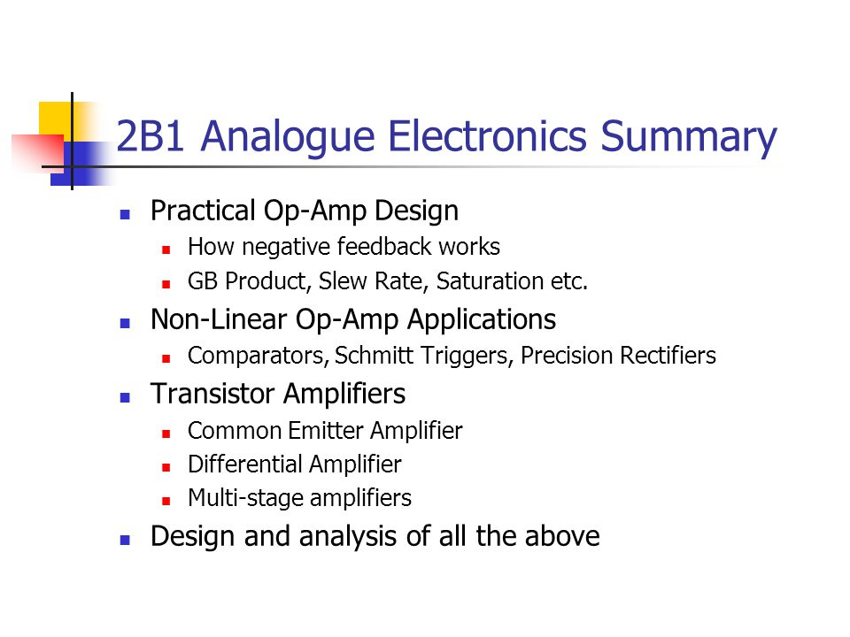 2B1 Analogue Electronics Summary