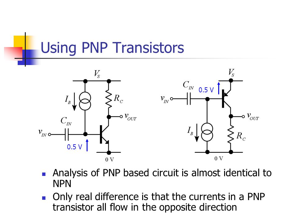Using PNP Transistors 0.5 V. 0.5 V. Analysis of PNP based circuit is almost identical to NPN.