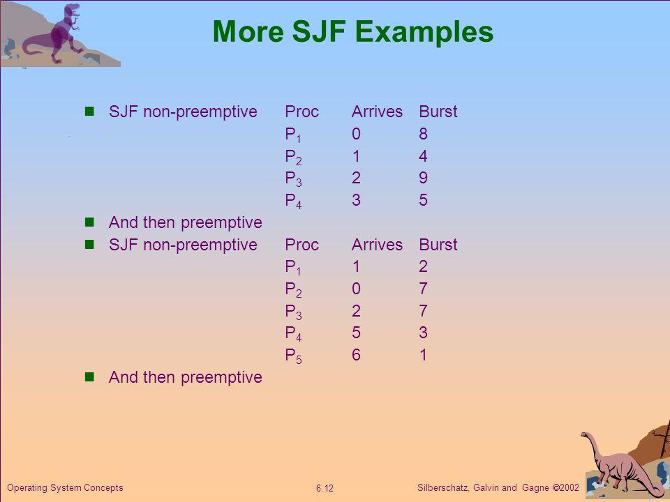 More SJF Examples SJF non-preemptive Proc Arrives Burst P1 0 8 P2 1 4