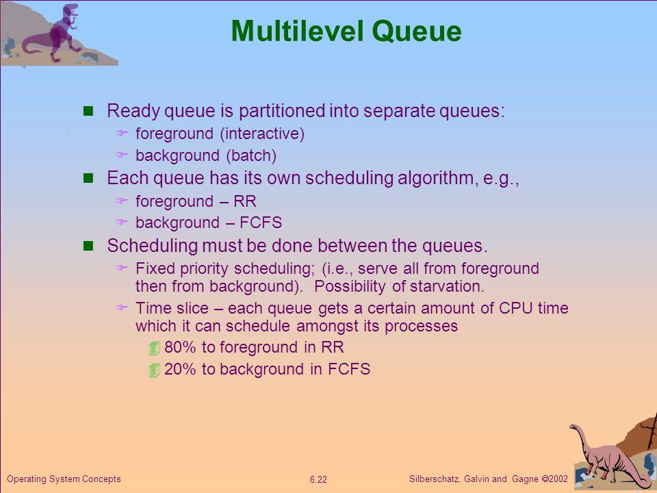 Multilevel Queue Ready queue is partitioned into separate queues: