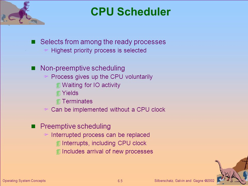 CPU Scheduler Selects from among the ready processes