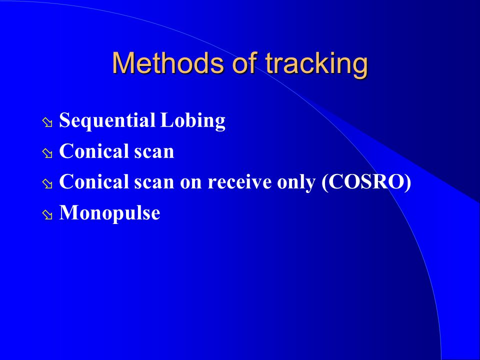 Methods of tracking Sequential Lobing Conical scan