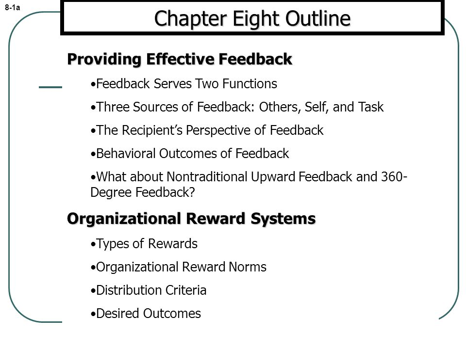 Chapter Eight Outline Providing Effective Feedback