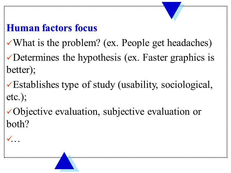 Human factors focus What is the problem (ex. People get headaches) Determines the hypothesis (ex. Faster graphics is better);