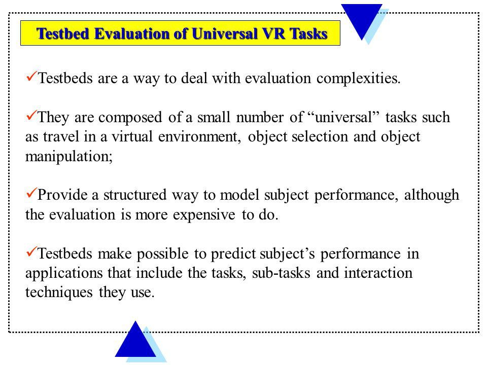 Testbeds are a way to deal with evaluation complexities.