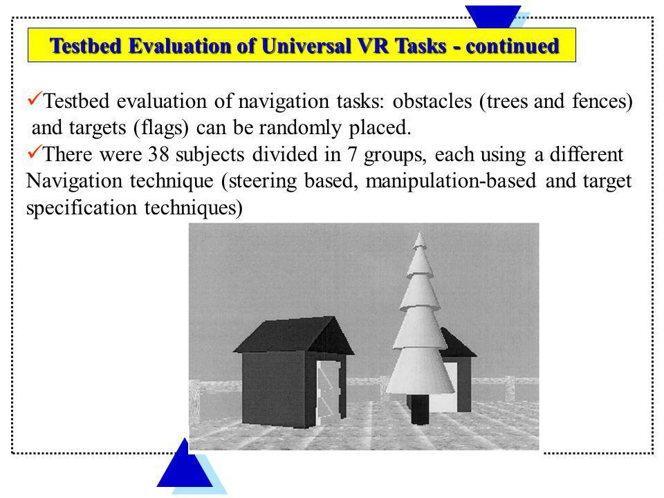 Testbed evaluation of navigation tasks: obstacles (trees and fences)