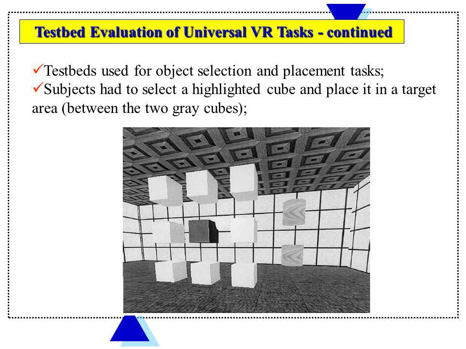 Testbeds used for object selection and placement tasks;
