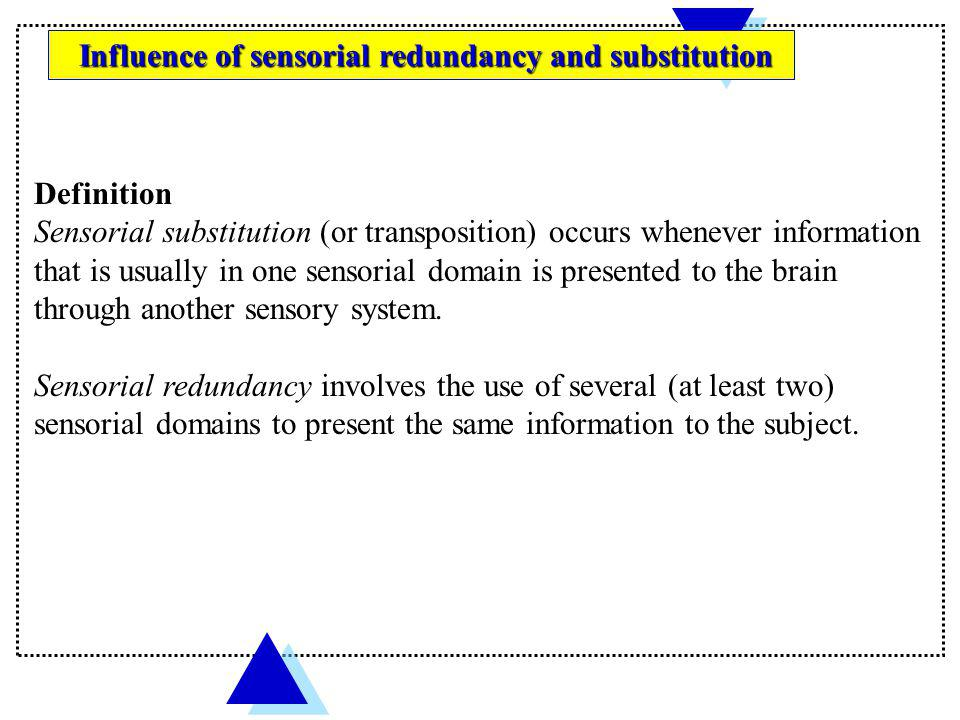 Sensorial substitution (or transposition) occurs whenever information